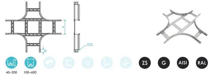 Углы X-образные лестничного лотка CLIVE